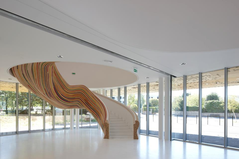 Sculptural Stairs at the School of Arts in Saint Herblain France